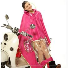 Eco-friendly waterproof rubber Jacquard fabric raincoat Motorcycle for 2 person with pocket zippers