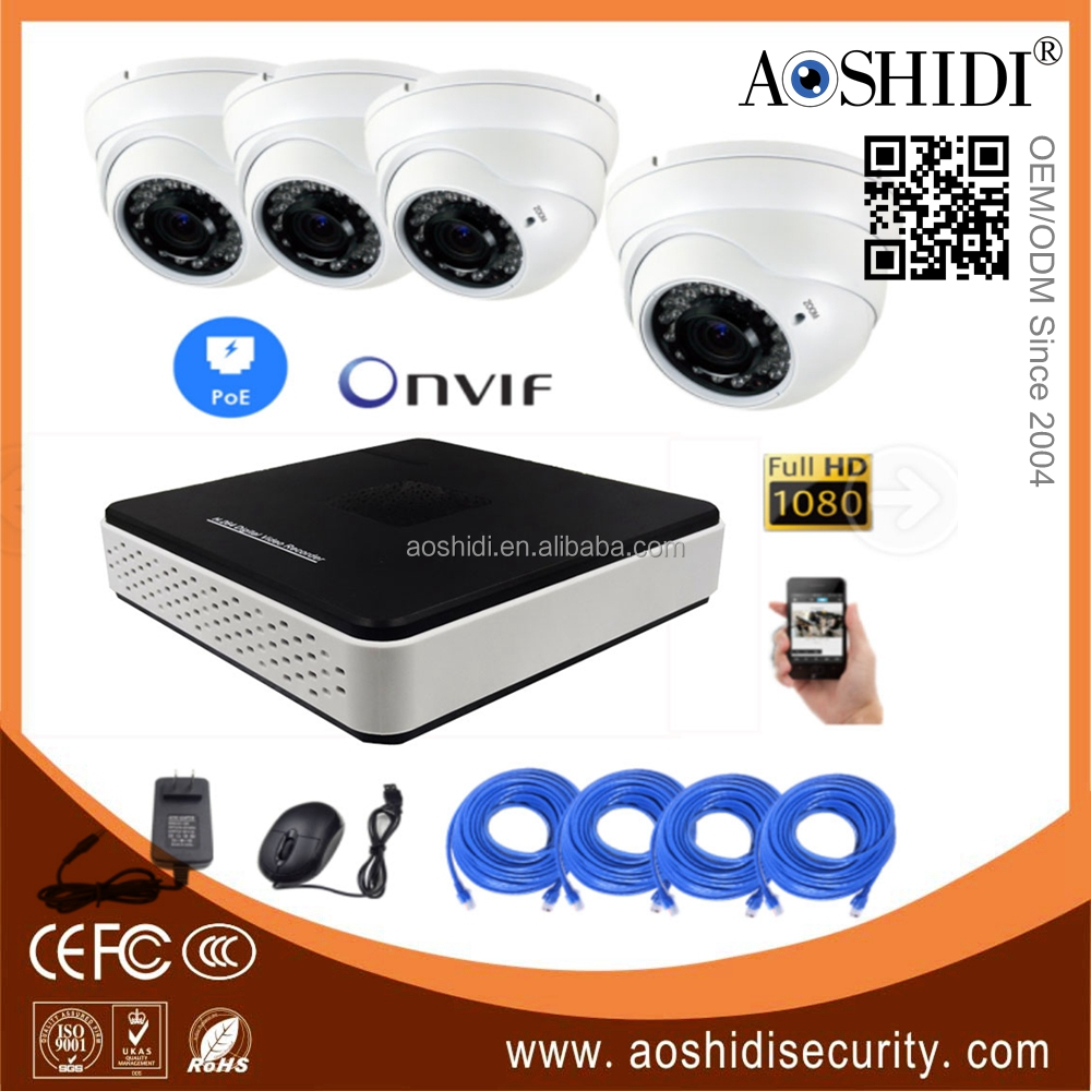 4 Channel H.264 HD 1080P IP Cameras Kits,4CH Home CCTV Video Surveillance Cameras System
