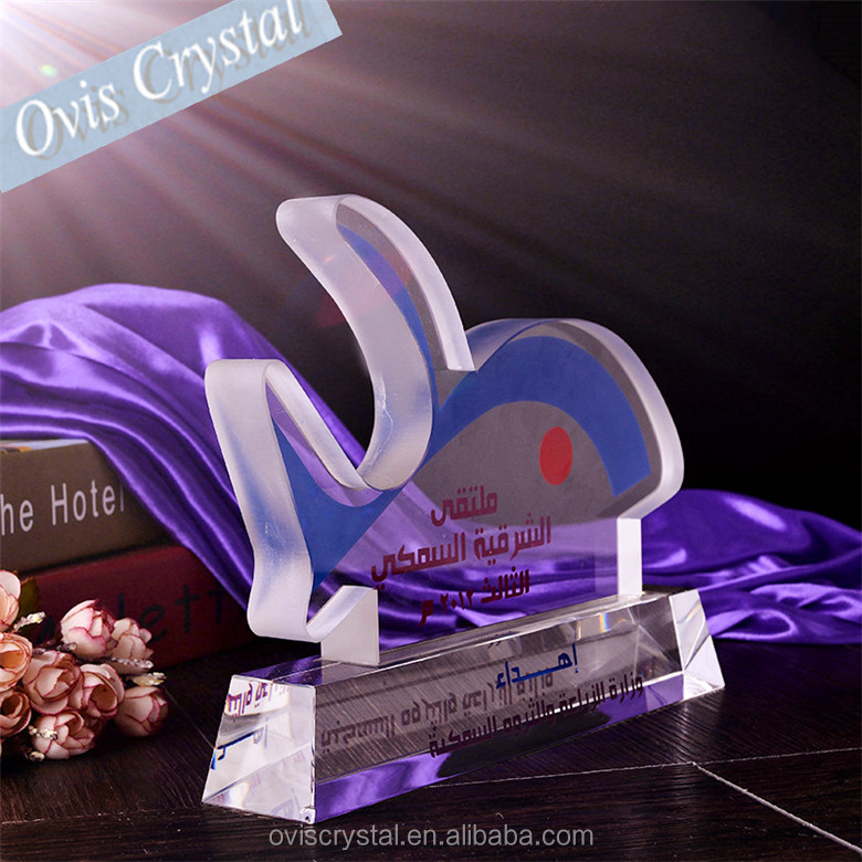 The Lively Atmosphere Admirable Fish Crystal Trophy And Award For Business Souvenirs