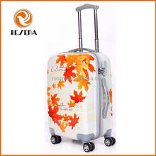 Stylish ABS bright color travel luggage maple leaves printed roncato luggage Canada