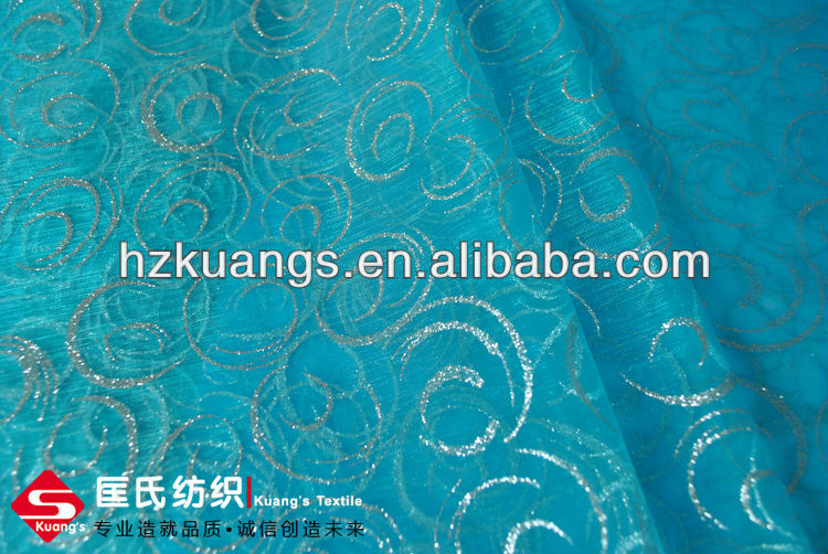 Organza/Organdy Metallic Printed Fabric for Christmas Decoration