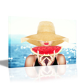 Wall Art Hd Printed Lady Holding Watermelon Picture Canvas Prints Red Lips Summer Painting for Living Room(60cmx80cm)