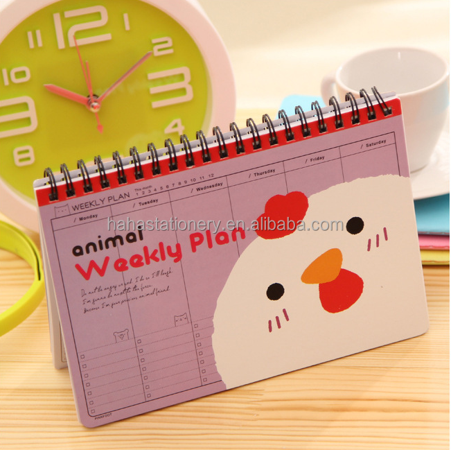 cute design card board cover spiral school stdent diary notebook