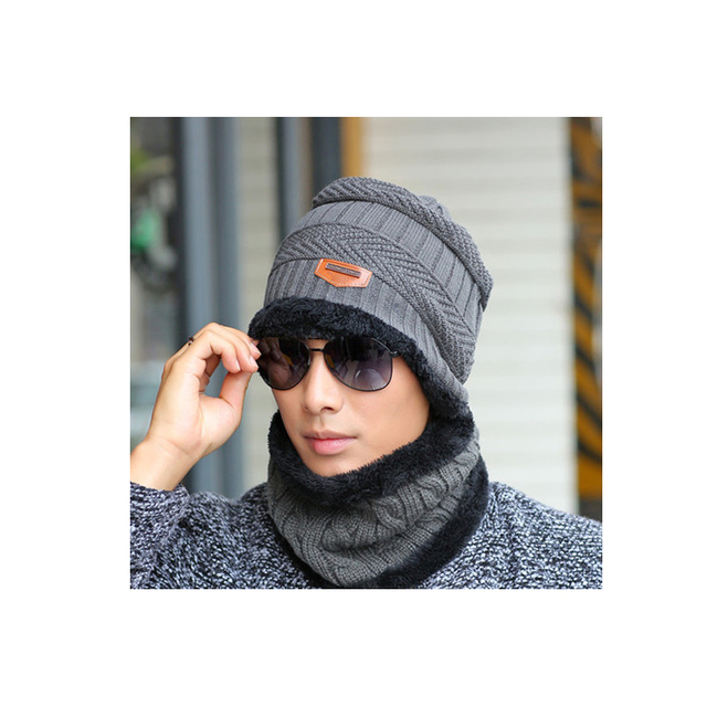 Men's winter hat 2018 fashion knitted black hats Fall Hat Thick and warm and Bonnet Skullies Beanie Soft Knitted Beanies Cotton