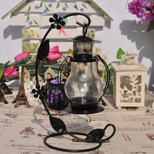 Decor Moroccan glass hurricane out door Metal Lantern Candle Holder with Hanging
