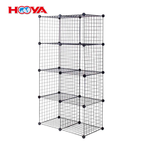8 pcs black metal wire gird storage cubes metal display rack