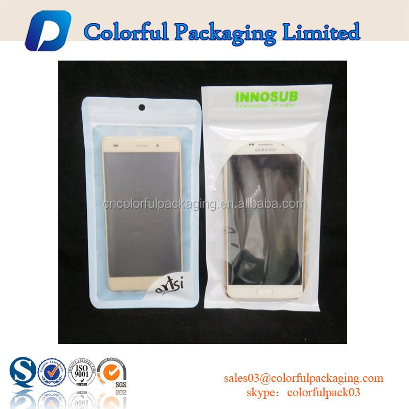 Mobile phone/earphone bag with zipper&euro hole&window/Mobile accessories zipper bag with clear window