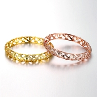 SJ Wholesale Women Braided Shape Jewelry Rhodium Plated Brass Alloy Gold&Rose Gold Cubic Zirconia Hollow Braided Open Bangle