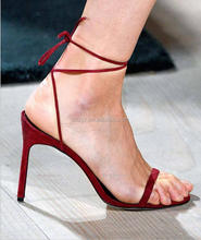 L1783A new arrival fashion summer ladies footwear high heel shoes women low price ladies lace-up sandals