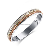 2016 newest half pave white with orange shiny rhinestone design silver bangle for women high quality stainless steel jewelry