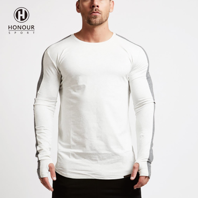 Wholesale Elastic Blank Custom Printing Cotton 100% Long Sleeve Casual T Shirt for Man