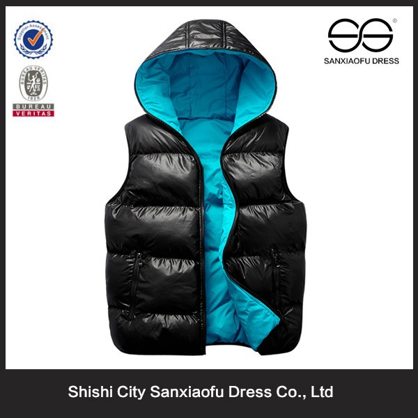 Latest Winter Cheap Hooded Mens Reversible Padded Bubble Vest Chaleco
