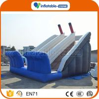 2016 Promotion gaint inflatable double slides giant inflatable slide with triple lanes