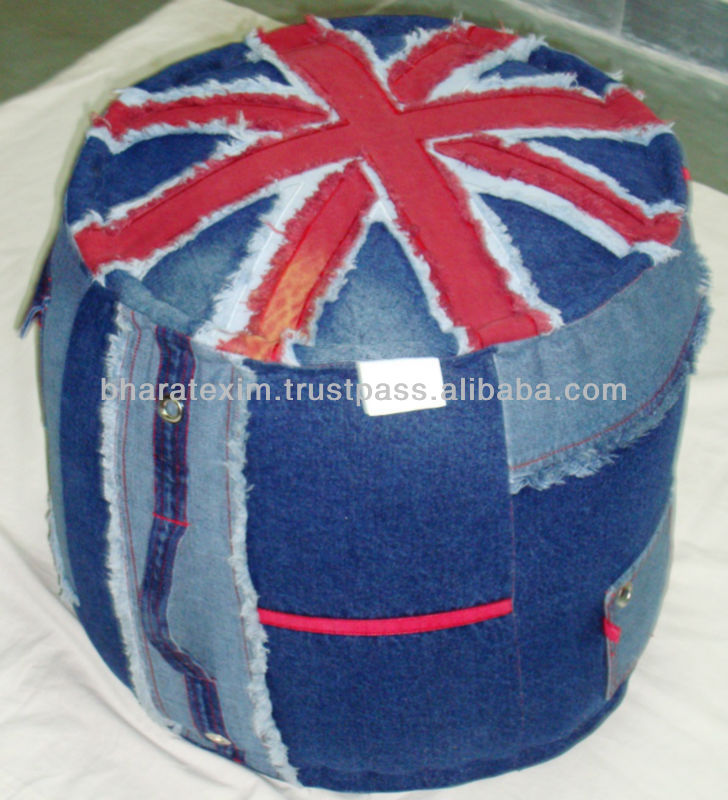 Denim Pouf UK Flag Round