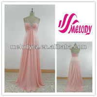 Simplicity style chiffon pleated V backless elegant beaded pink evening dress