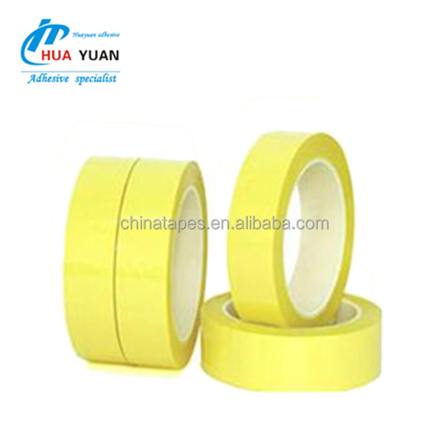 0.060mm thick 130 degrees Acrylic Adhesive Yellow or Black Polyester Film tape , Mylar tape 1350 Equivalent