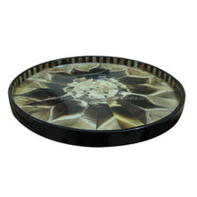 Round tray with lacquer and buffalo- horn, elegant desing tray serve hotel, restaurant, home decoration