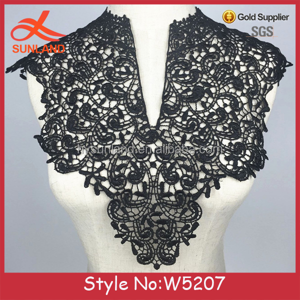 W5207 New fashion handcut lace with applique embroidered collar White or Black Lace Crochet Collar
