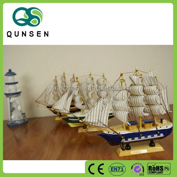 decorative hand carved wooden sail boat