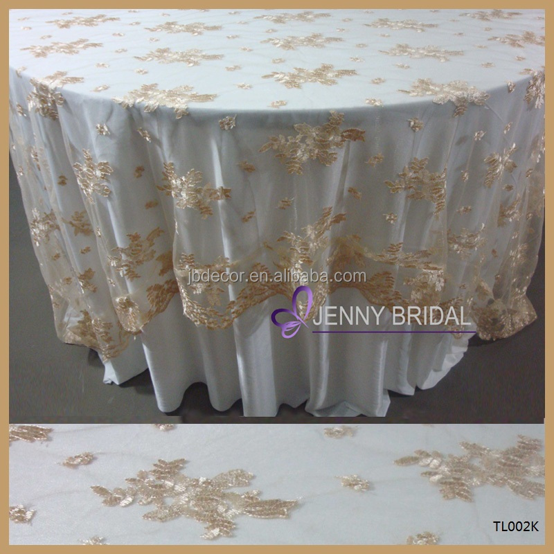 TL002K Jenny Bridal Brand wedding party gold polyester lace fancy table cloth, lace table overlays
