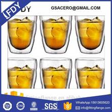 heat resistant double wall home goods drinking glass with handle and lid