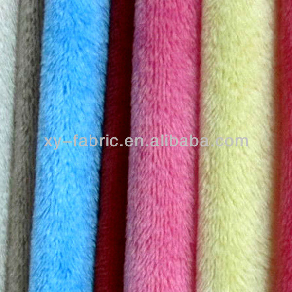 100% polyester knitted fabric/solid color plush velboa