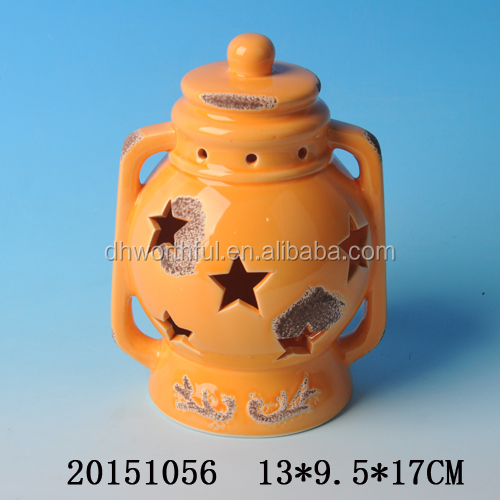 Wholesale orange ceramic halloween lantern with led light/tealight for 2016 halloween party