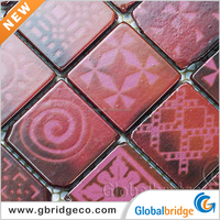 Inkjet Printing Colourful Broken edge Glass Mosaic Cheap Mosaic Tile Sheet Decorative Crystal Glass Mosaic