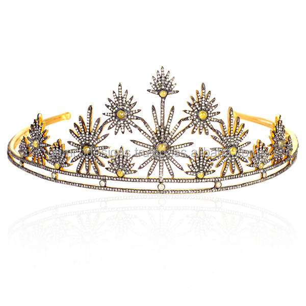 Single Cut Diamond Wedding Tiara 14k Yellow Gold Princess Crown Wholesale Victorian Jewelry