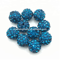 Handmade 6 Rows Crystal Peacock Blue Color Round Ball Beads With Pave Rhinestone for DIY Bracelet Size 10mm