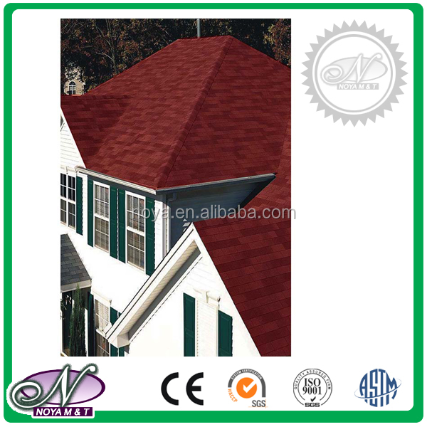 Fiberglass asphalt roofing Shingles coloured glaze insulation asphalt shingles with low price