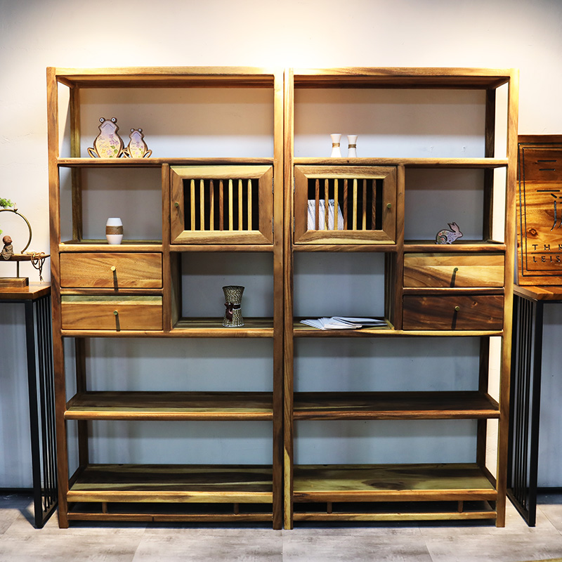Decoration Solid Oak 5 Shelf Wooden Furniture Office Bookcase