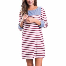 China Supplier Fashion Lady Bandage Striped High Quality Autumn Dress For Woman