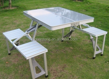 aluminum portable folding table and chair set with blue white red color