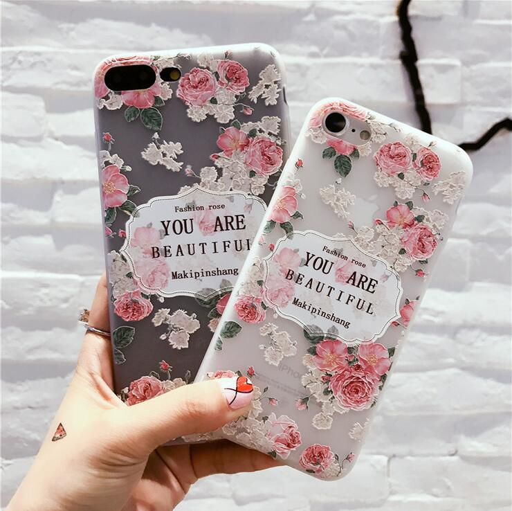 Freshing flower rose cameo hot mobile phone silicone case shell for iPhone 6 6s 7 7 plus 8 X