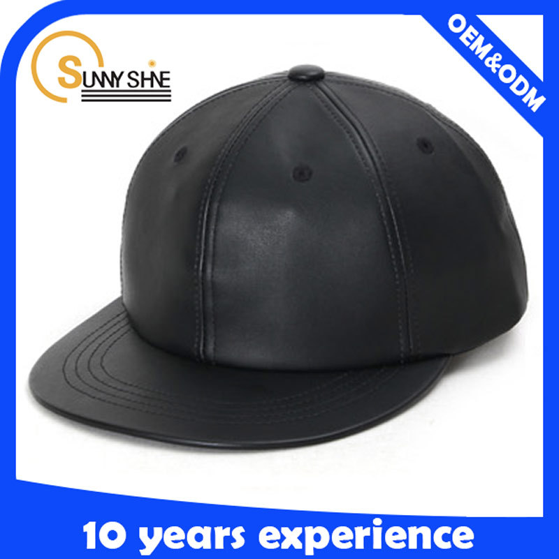 2015 hot sale 6 panel snake black skin leather brim snapback blank no logo hats/caps