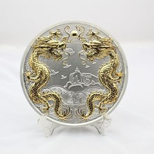 custom design Chinese souvenir dragon gold and silver plate for commemoration