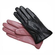 Light red wholesale leather gloves buyers for winter women