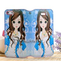 2013 Factory high quality plain PU leather wallet case for iphone 5, hi-quality model for iphone 5 case