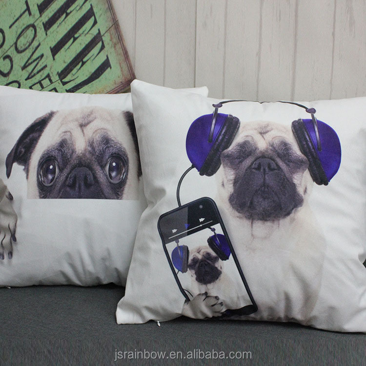 2017 hot sale 3d digital print new design animal dog cushion cover wholesale