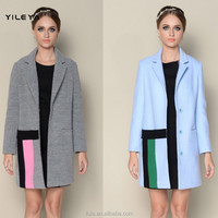 custom made contrasting colored elegant grey blue french fashion winter coats