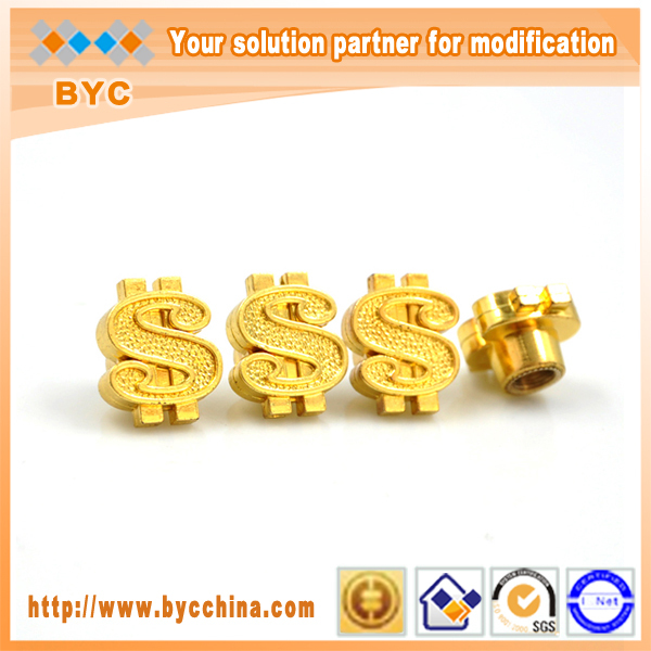 BYC New Design US Dollar Custom Tire Valve Cap Car Accessories Gold