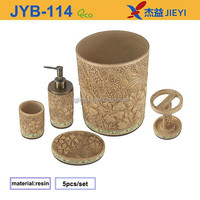 5pcs decorative wooden effect yellow and green bathroom accessories set with flower sculpture