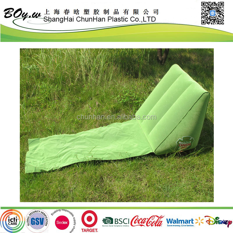 Walmart hot sale factory grass land back rest pillow wedge beach inflatable flocked cushion