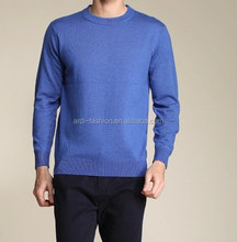 high quality crewneck plain solid knitting handmade mens merino wool sweater