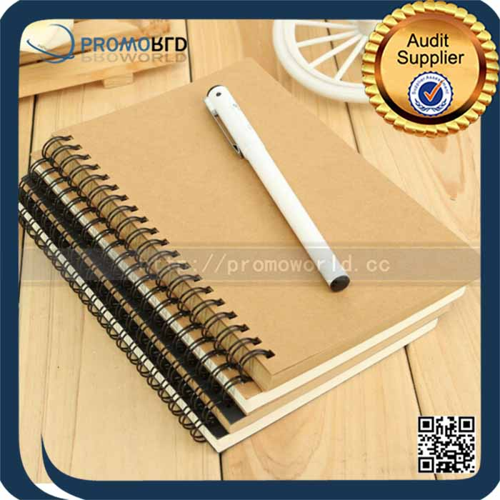 Wholesale A4 Spiral Recycle Brown Kraft Paper Notebook