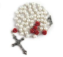 White Glass Pearl 6mm Beads Catholic Rosary with Lourdes Center Piece