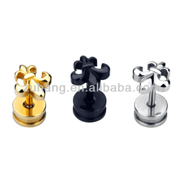 316L Surgical Steel Fake Plug with FLUER DE LIS Design Stud Earring Ear Piercing Jewelry