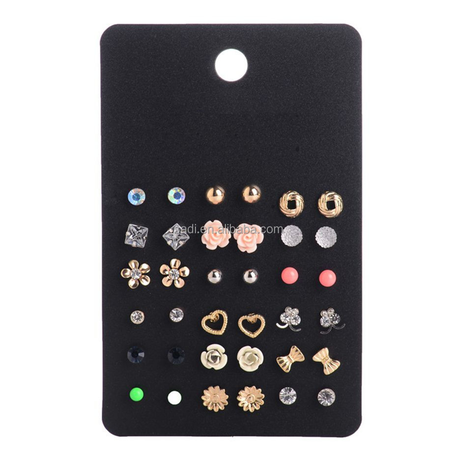 Hot Sale Cute Heart Earring Pack Sets Super Value 18 Pairs Round Square Ball Crystal Stud Earrings for Women brincos Friend Gift
