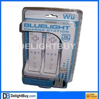 blue light Dual USB Charging Stand/Station/Dock + Battery Pack for Wii with WU